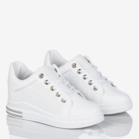 Białe buty sportowe na krytym koturnie damskie Foster - Obuwie