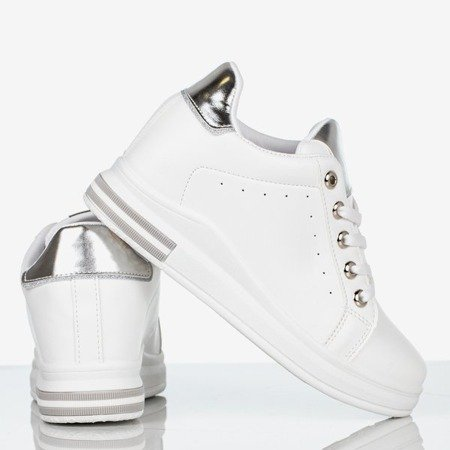Białe buty sportowe na krytym koturnie damskie Sliomena - Obuwie