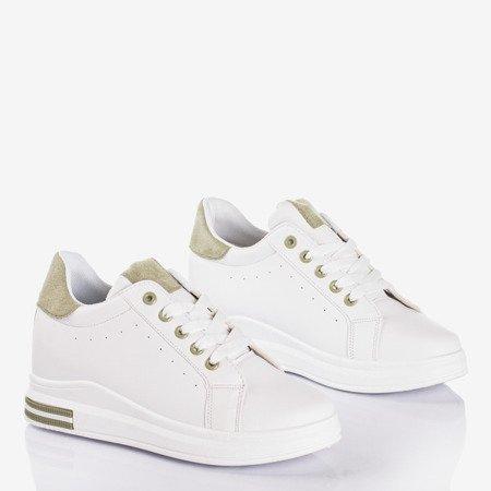 Białe buty sportowe na krytym koturnie z zielonymi wstawkami Sliomenea - Obuwie
