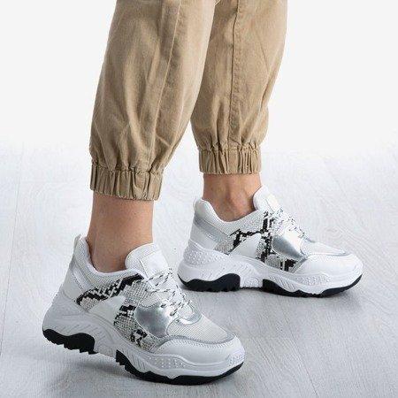 Białe buty sportowe we wzór a'la skóra węża Snekeressa - Obuwie