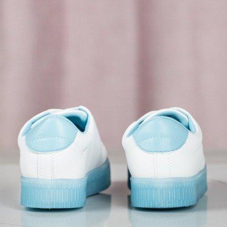Białe buty sportowe z błękitną podeszwą Ivete - Obuwie