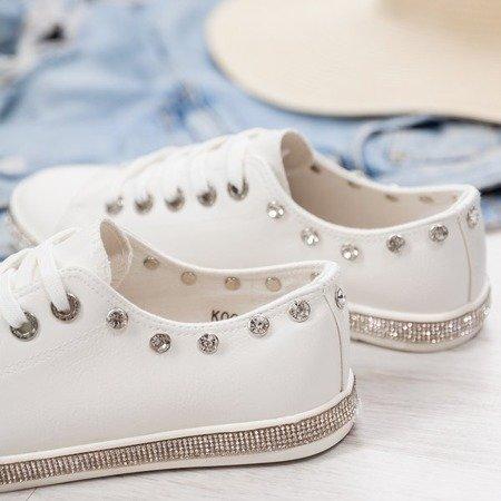 Białe buty sportowe z cyrkoniami Koral - Obuwie