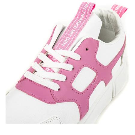 Białe buty sportowe z różowymi wstawkami Polerine - Obuwie
