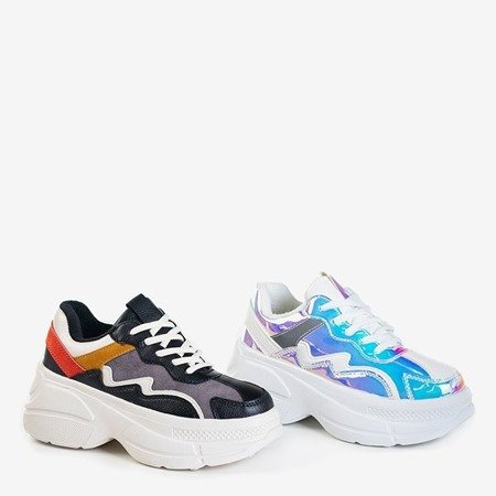 Białe buty z holograficznymi wstawkami Dabi - Obuwie