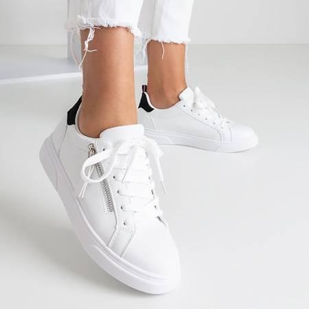 Białe damskie tenisówki z czarnymi wstawkami Lotine - Obuwie