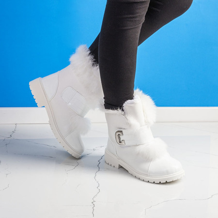 Białe dziewczęce botki z ociepleniem Pelo - Obuwie
