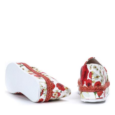 Białe espadryle z kwiatowym printem Rosalind - Obuwie
