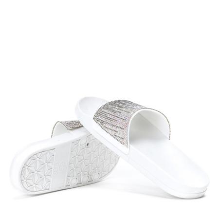 Białe klapki z cyrkoniami Lilac - Obuwie