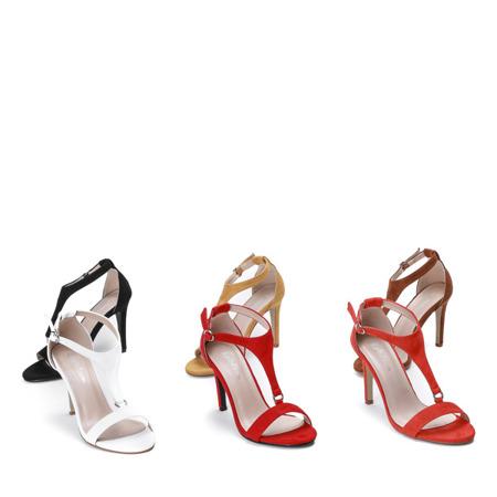 Białe sandały na wysokiej szpilce Rosie - Obuwie