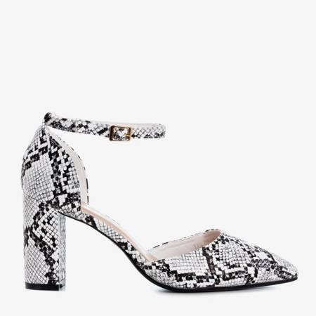 Białe sandały na wyższym słupku we wzór a'la skóra węża Vagara - Obuwie