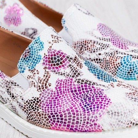 Białe slip - on w kolorowe wzory Shamisilla - Obuwie