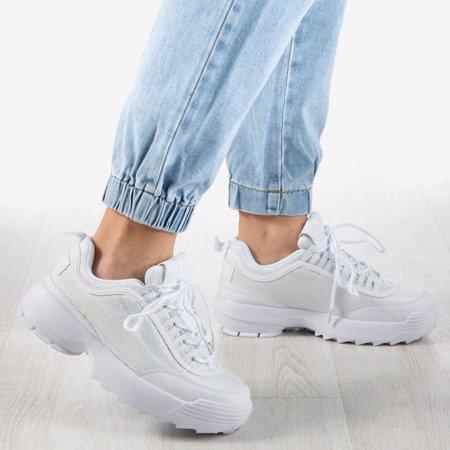 Białe sneakersy na grubej podeszwie Cornell - Obuwie