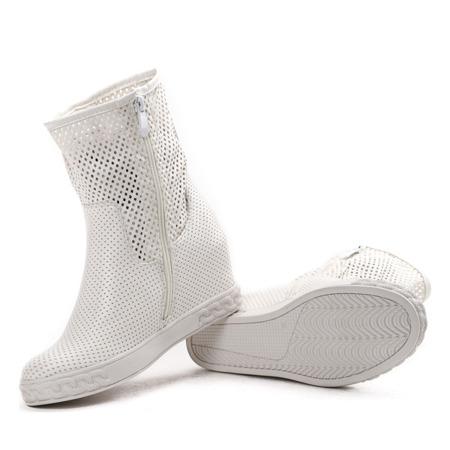 Białe sneakersy na krytym koturnie Jayla - Obuwie