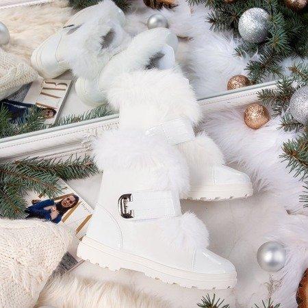 Białe śniegowce z futerkiem Harriett - Obuwie