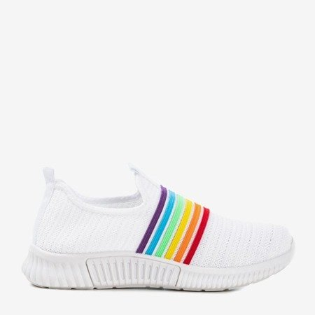 Białe sportowe buty damskie typu slip - on Rainbow - Obuwie