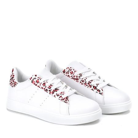 Białe sportowe buty w czerwoną panterkę Colorful Panther - Obuwie