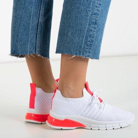 Białe sportowe buty z neonowymi różowymi wstawkami Brighton - Obuwie