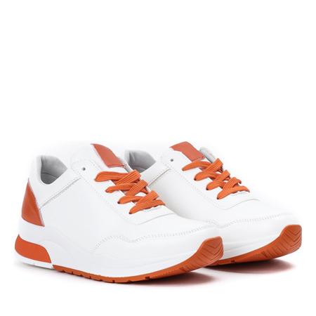 Białe sportowe buty z pomarańczowymi wstawkami Rothina - Obuwie