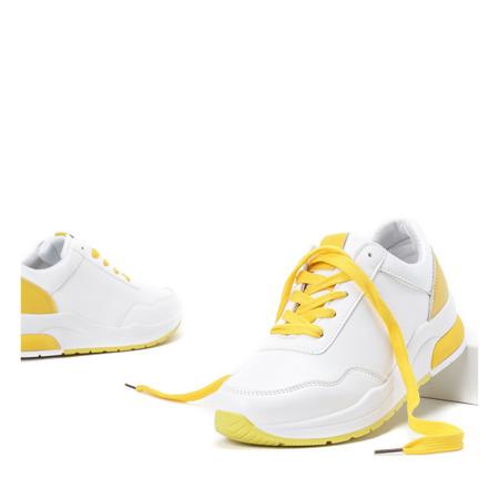 Białe sportowe buty z żółtymi wstawkami Rothina - Obuwie