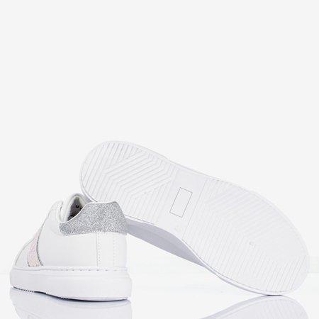 Białe sportowe tenisówki damskie ze srebrnymi wstawkami Hypnosis - Obuwie