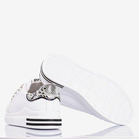 Białe tenisówki damskie a'la skóra węża Solesca - Obuwie