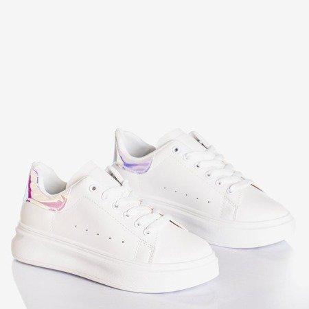 Białe tenisówki damskie z holograficzną wstawką Soho - Obuwie