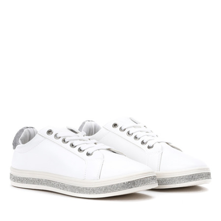 Białe tenisówki z cyrkoniami Giovanni - Obuwie