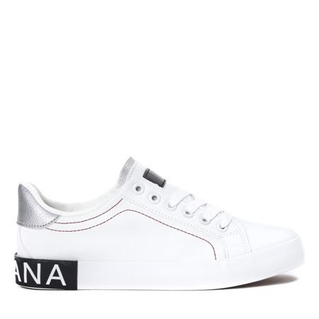 Białe tenisówki z czarnymi wstawkami Ginnie - Obuwie
