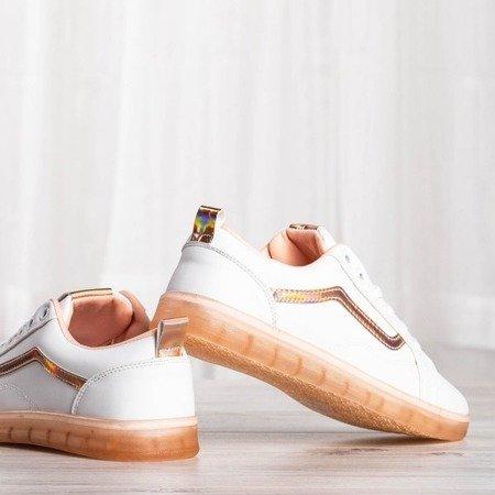 Białe tenisówki z holograficzną wstawką Holossa - Obuwie