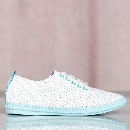 Białe tenisówki z niebieskimi wstawkami Mika - Obuwie