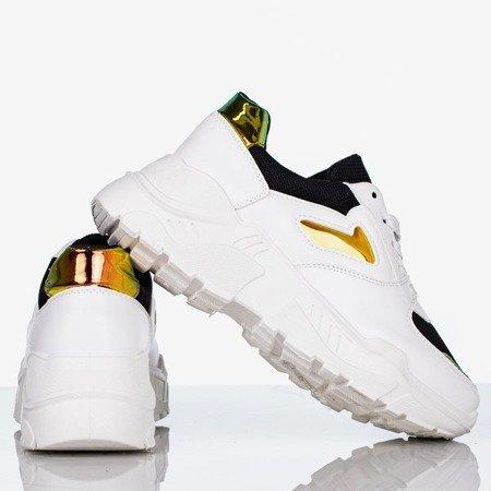 Biało - czarne sportowe buty z holograficznymi wstawkami Dynamite - Obuwie
