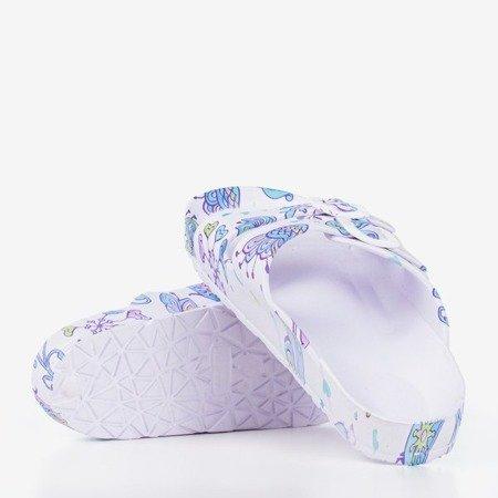Biało - fioletowe gumowe klapki Lito - Obuwie