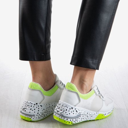 Biało - neonowe sportowe sneakersy damskie Be The One - Obuwie