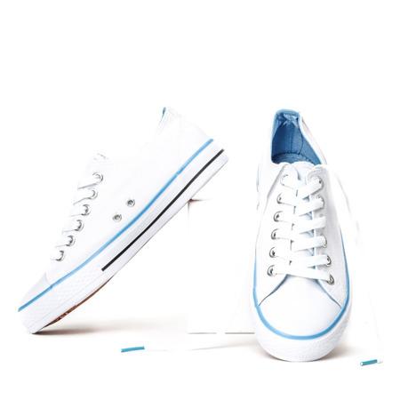 Biało - niebieskie trampki z materiału tkaninowego Flawia - Obuwie
