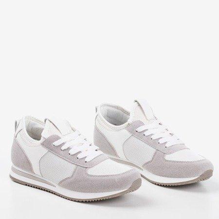 Biało - szare sportowe buty damskie na krytym koturnie Lyseria - Obuwie