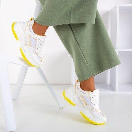 Biało - żółte sportowe sneakersy damskie Balgra - Obuwie