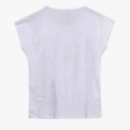 Biały t-shirt damski z nadrukiem - Odzież