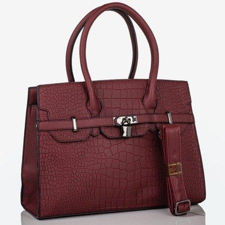 Bordowa torebka na ramię z tłoczeniem - Torebki
