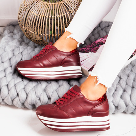 Bordowe buty sportowe na platformie Keziah - Obuwie