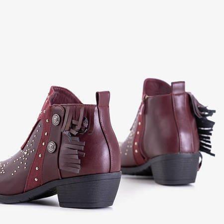 Bordowe damskie botki z dżetami i frędzelkami Sharon - Obuwie