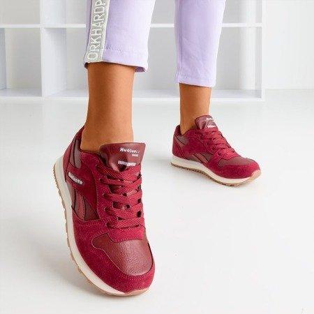 Bordowe sportowe damskie buty Hulione - Obuwie
