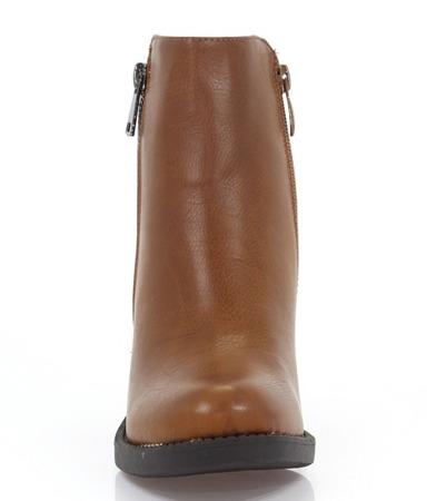 Botki na słupku- kolor camel - Obuwie