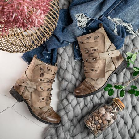 Botki z dżetami w kolorze khaki Lenia - Obuwie