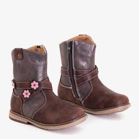 Brązowe botki dziecięce z kwiatuszkami Flopesq - Obuwie