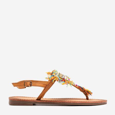 Brązowe sandałki z ozdobnymi koralikami Itelija - Obuwie