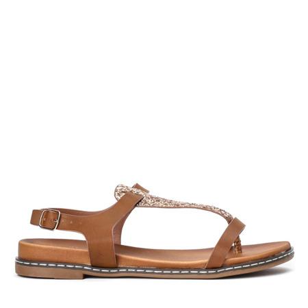 Brązowe sandały a'la japonki z brokatową ozdobą Finecia - Obuwie