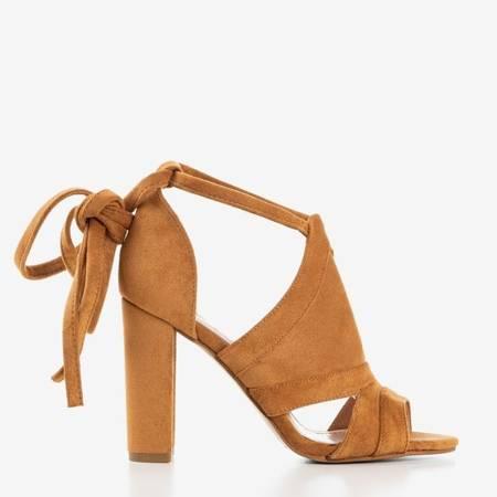 Brązowe sandały damskie na wyższym słupku z cholewką Lanaline - Obuwie