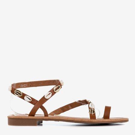 Brązowe sandały damskie z muszelkami Melreu - Obuwie