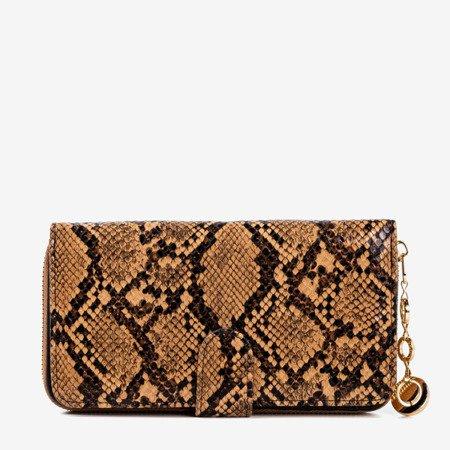 Brązowy portfel damski a'la skóra węża - Portfel