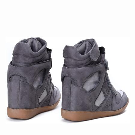 Ciemnoszare sneakersy na koturnie Barbra - Obuwie